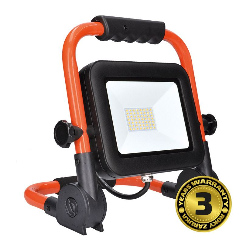 Solight LED reflektor PRO so sklopným stojanom, 50W, 4250lm, 5000K, kábel so zástrčkou, IP65