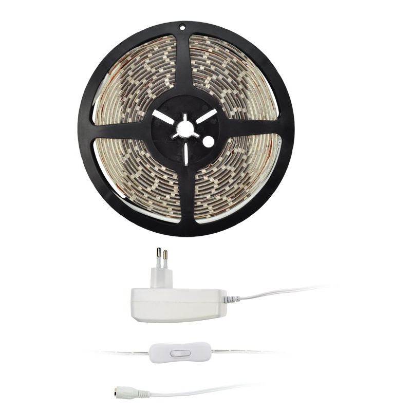 Solight LED svetelný pás s testrom, 5m, sada s 12V adaptérom, 4,8W/m, IP20, teplá biela