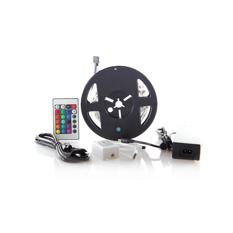 Solight LED svetelný pás, RGB, 3m, sada s 12V adaptérom a DO, 7,2W/m, IP20