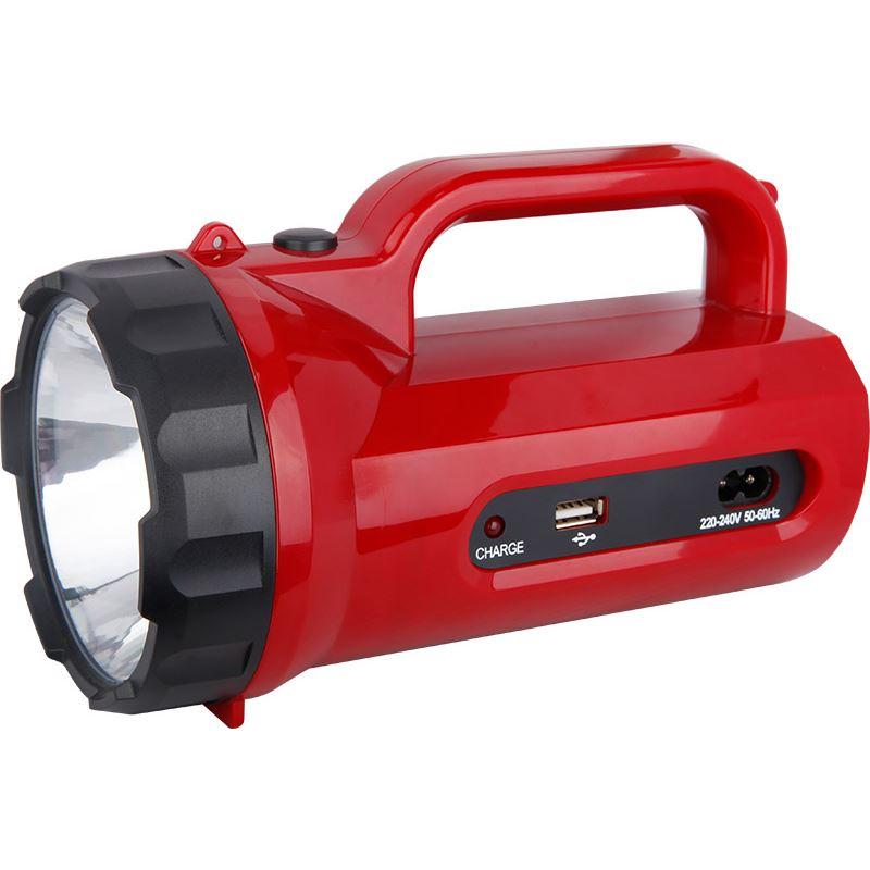 Solight LED svietidlo nabíjacie s power bankom, 5W, 235lm, červené