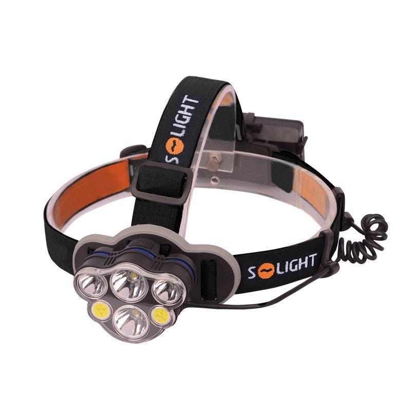 Solight LED čelové nabíjacie svietidlo, 550lm, Li-ion, USB
