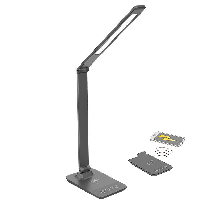 Solight LED stmievateľná lampička s bezdrôtovým nabíjaním, zmena chromatickosti, sivá