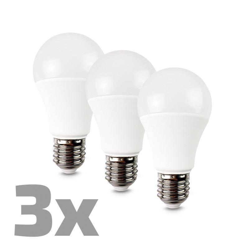 ECOLUX LED žiarovka 3-pack, klasický tvar, 12W, E27, 3000K, 270°, 980lm, 3ks v baleniu