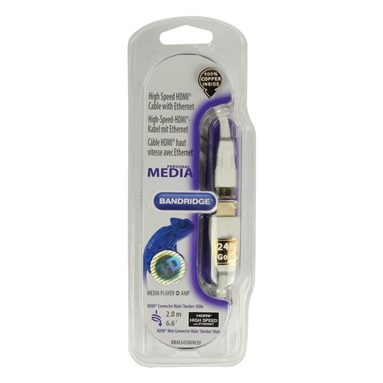 Bandridge Personal Media HDMI mini digitálny kábel, 2m, BBM34500W20